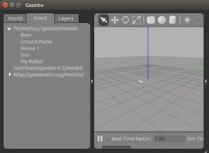 Окно интерфейса визуализации gazebo